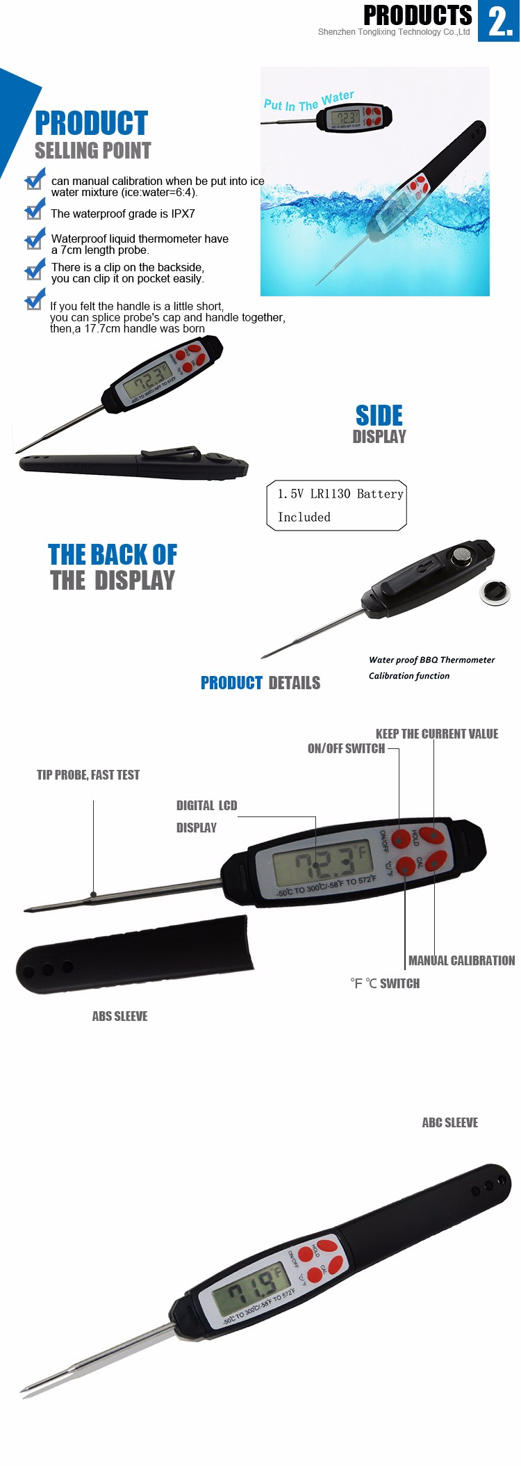 Waterproof Digital Thermometer With Probe Plastic Material Food Thermometer