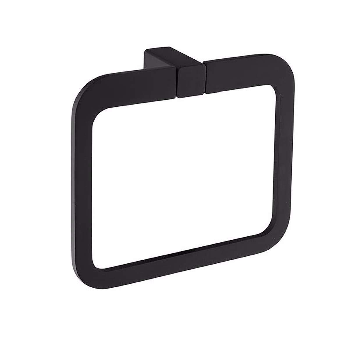 FYERBU-Black Simple Rubber Paint Square Towel Ring Solid Towel Towel Rack Towel Hook Toilet Paper Rack Clothes Hook