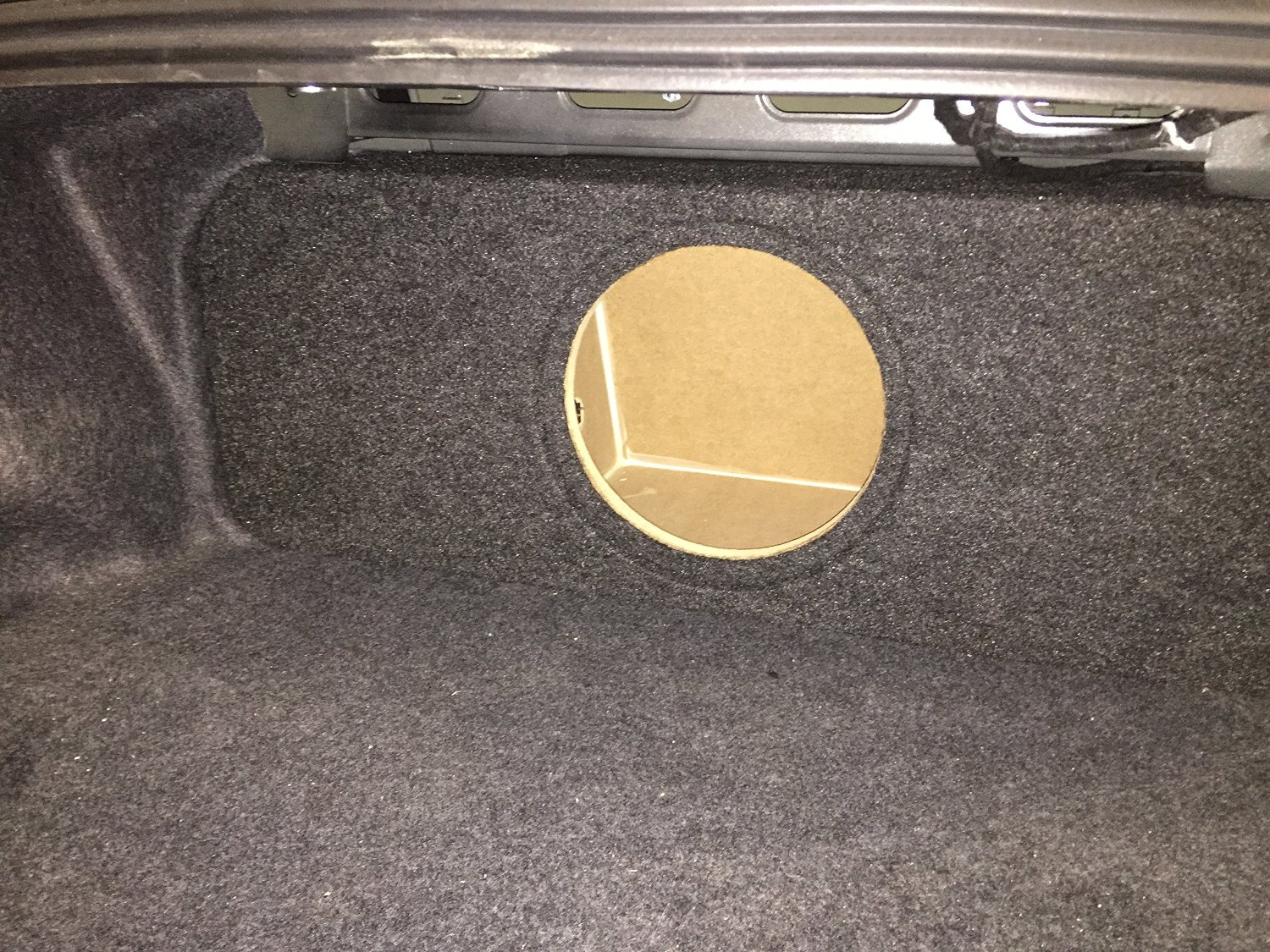 """Zenclosures 2015-2016 Mustang 1-10"""" Subwoofer Box W/recessed Mounting Holes, Rear Fire - Charcoal, Version 2"""