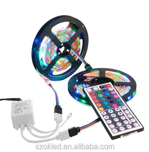 RGB led strip 3528 flexibele strip light niet waterdicht 5M 300led + 24key IR remote controller + DC12V power adapter EU/US/AU/UK