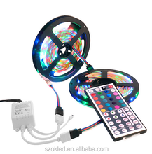 RGB led strip 3528 ยืดหยุ่น strip light กันน้ำ 5M 300led + 24key IR remote controller + DC12V power อะแดปเตอร์ EU/US/AU/UK