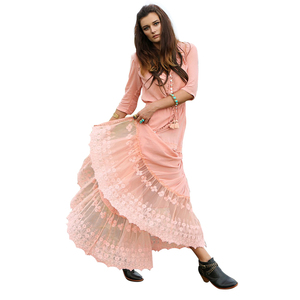 Spring summer elegant patchwork lady frock floor length elbow sleeves long white bohemian lace dress