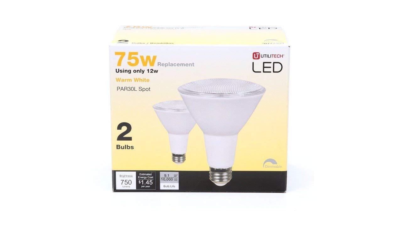 Utilitech 2-Pack 12-Watt (75W Equivalent) PAR30 Longneck Medium Base (E-26) Warm White Dimmable Outdoor LED Spot Light Bulbs