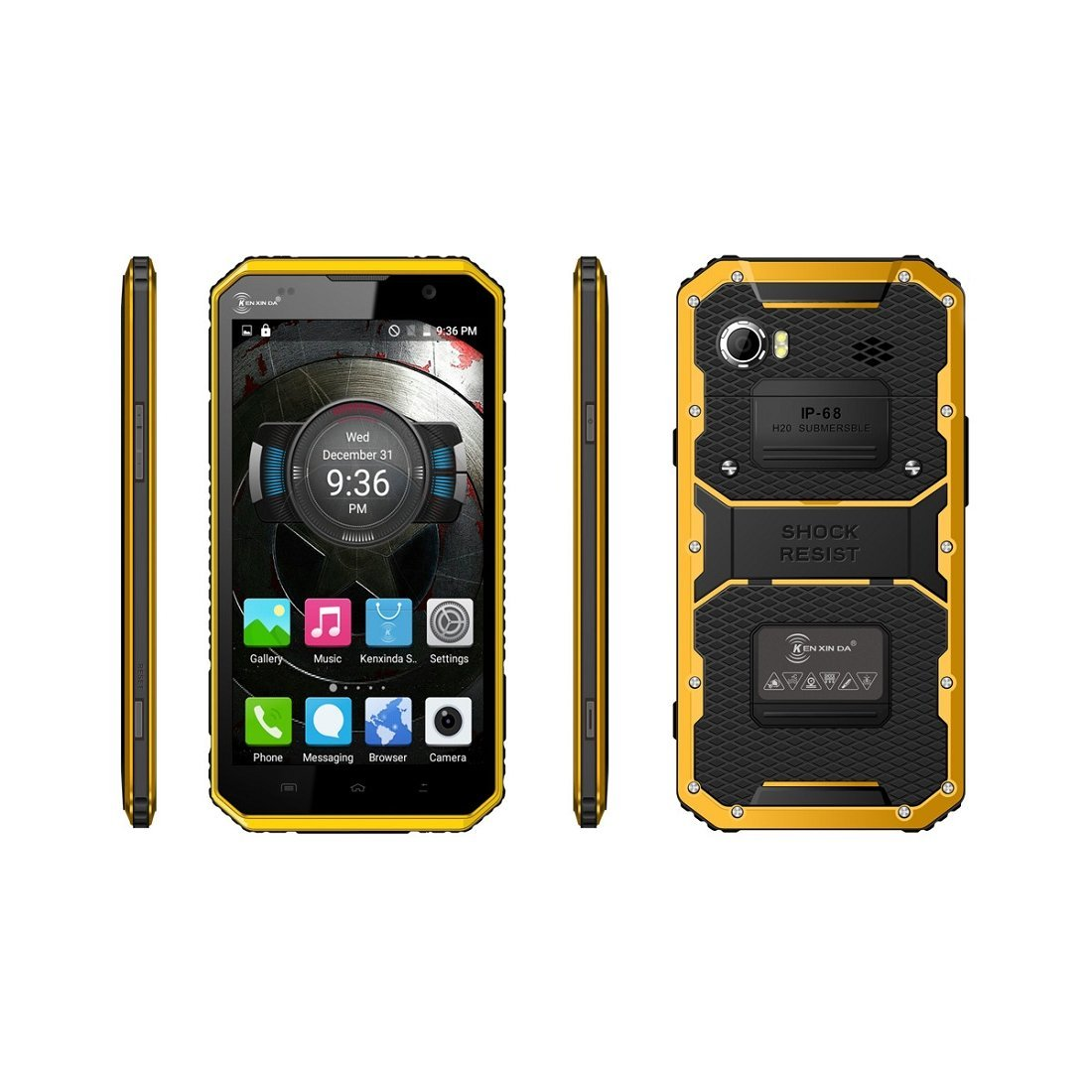 Iuhan® Fashion Kenxinda W9 6inch 4G Phablet Octa Core Smartphone Android 5.1 2GB RAM 16GB ROM IP68 (Yellow)