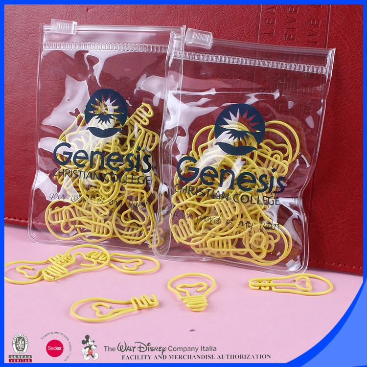 Yellow bulb shape personalized paper clip