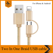 For Samsung for iphone 6 cable 8 pin to 5 pin micro braided sync data charger nylon 2 in 1 USB cable