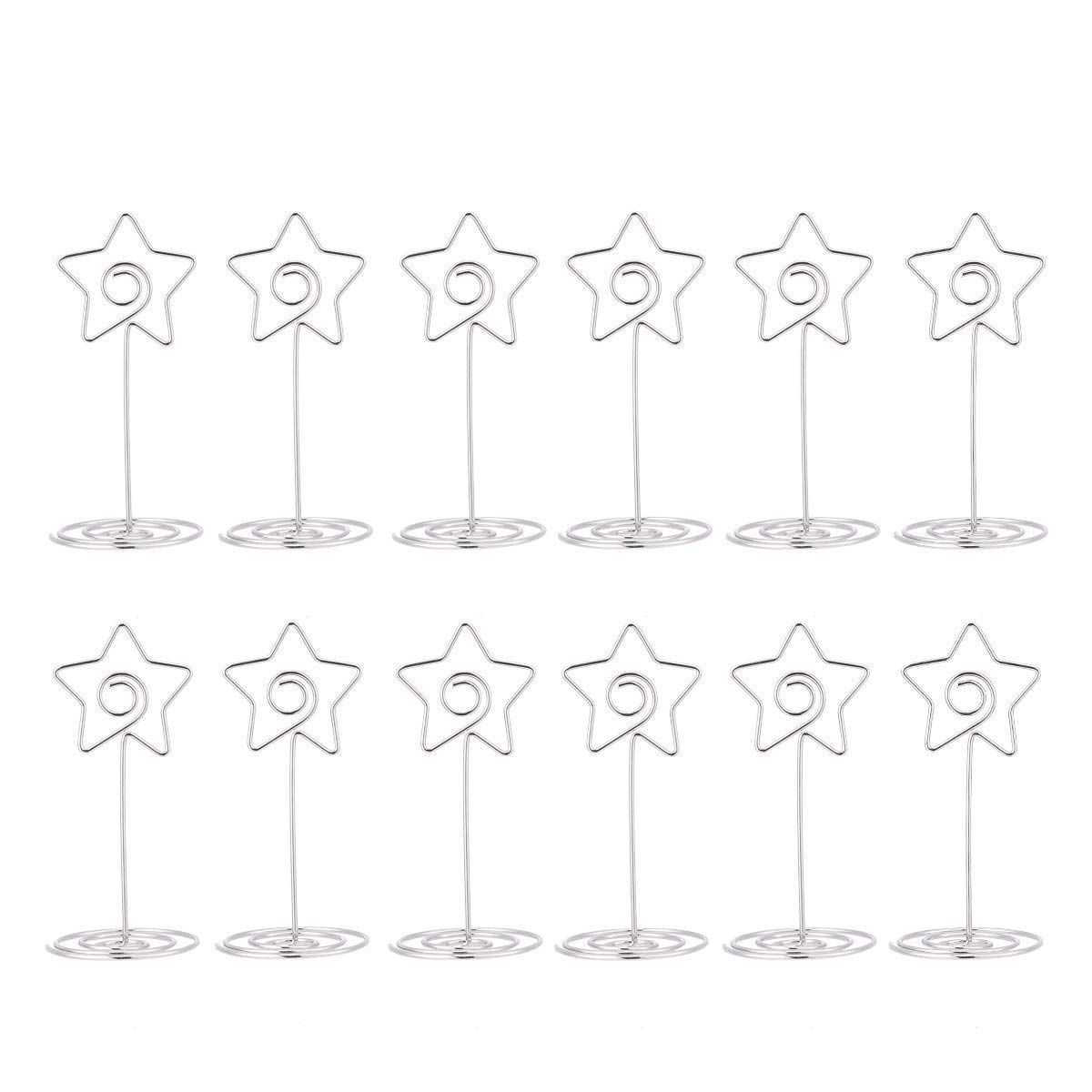 AIEVE Table Card Holders,12 Pack Star Shape Table Number Holder Table Photo Holder Table Picture Stand Menu Clips Holders for Place Cards for Weddings Party Office Desk,Silver
