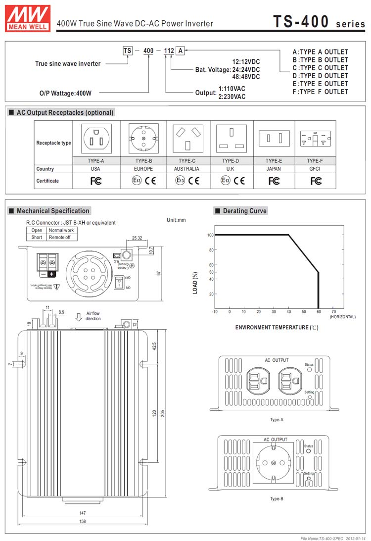 Meanwell 400w Ts 400 124 True Sine Wave Dc Ac Inverter Welding Machine Diagram