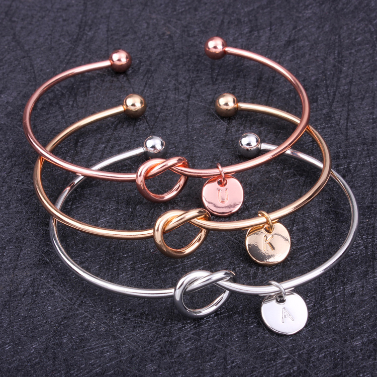 DIY Bridesmaid New Gold Silver plated 26 Alphabet Letters Knot Heart Lovely Bangle Charm Bracelet for Women Kids Wedding Jewelry