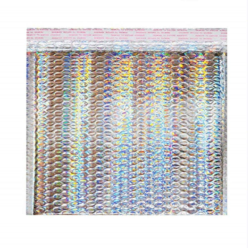 "5"" x 9"" Pack Holographic Bubble Mailers, Metallic Glamour Padded Envelopes"