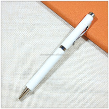 Pure white metal ball twist pen cheap price custom logo ballpens