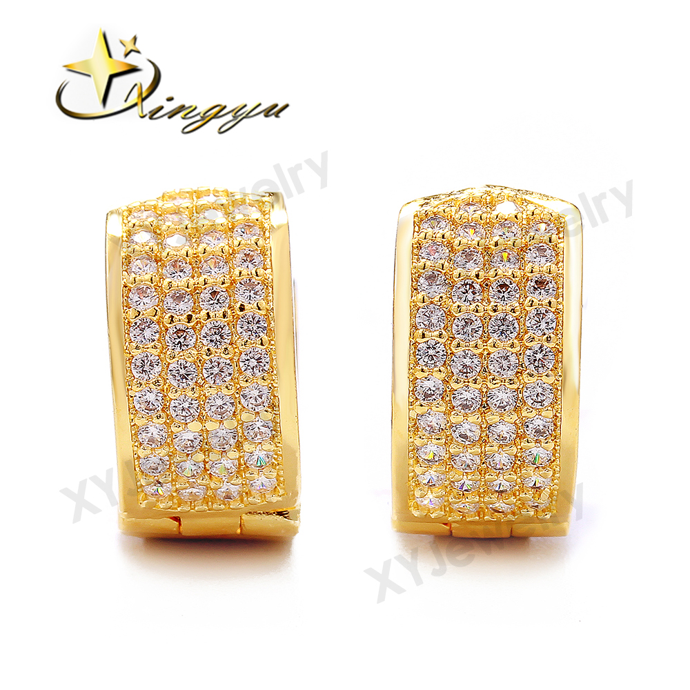 AAA White Cubic Zirconia Micro Pave Stone Copper Stick on Earrings
