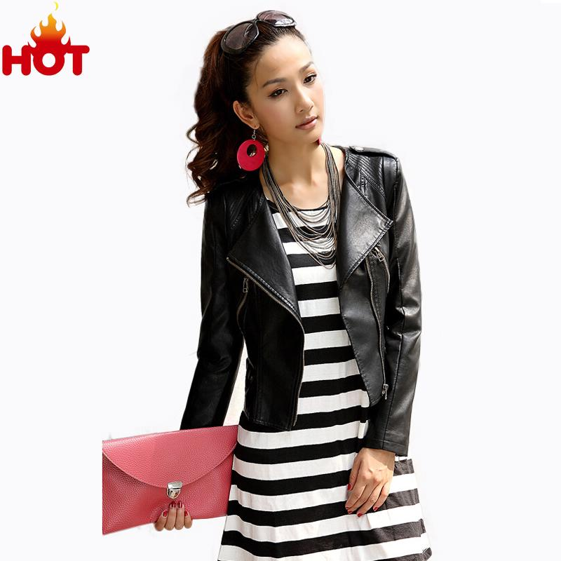 Women PU Leather Jacket Autumn Leather Women Tops Oblique Zipper Motorcycle PU Jacket Fashion Slim Long Sleeve Jackets Women Top