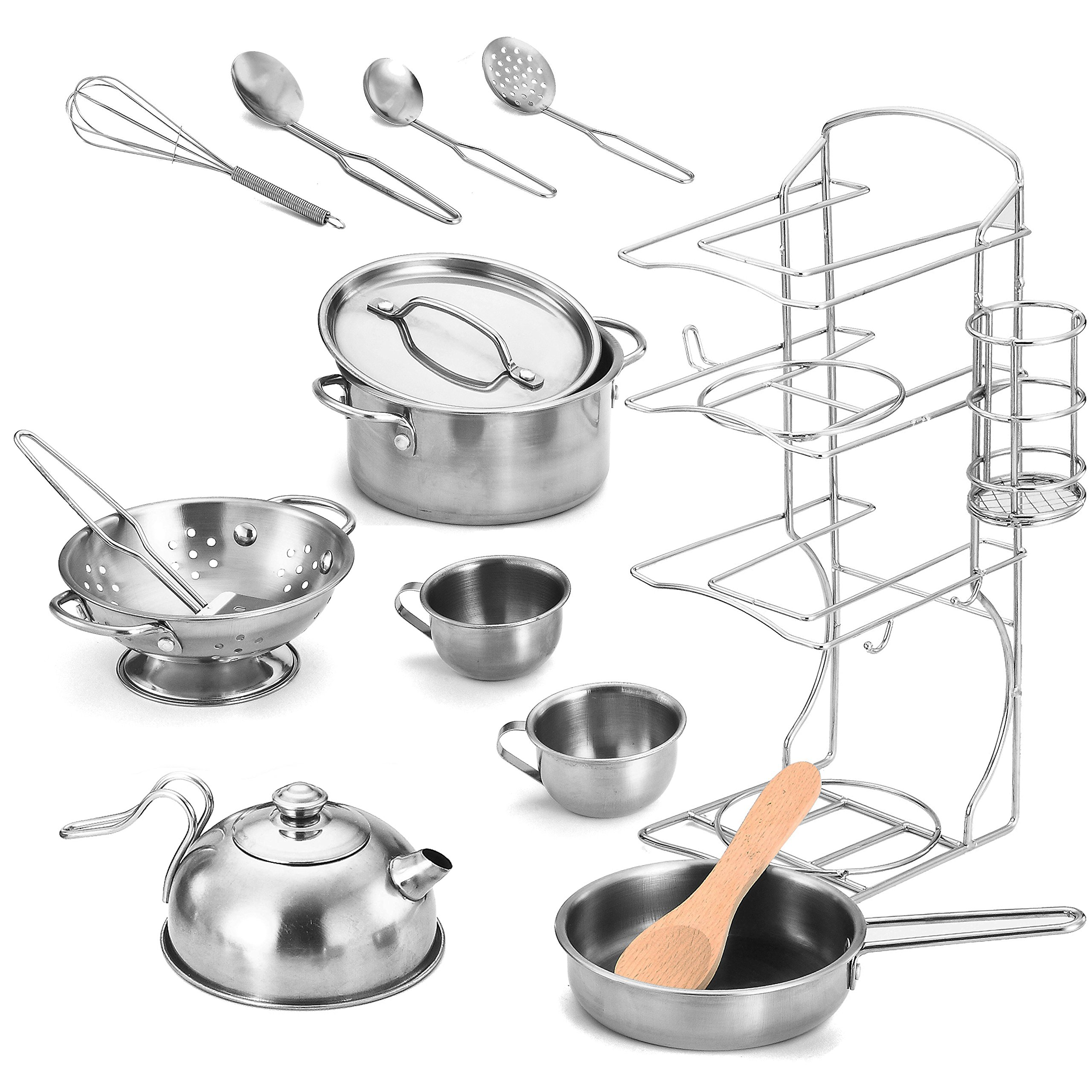 Joyin Toy Stainless Steel Pretend Play Kitchen Play Food Pots and Pans and Tea Party Set for Kids-12 pcs