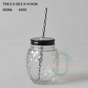 500ml pineapple design glass manson jar with cover and straw