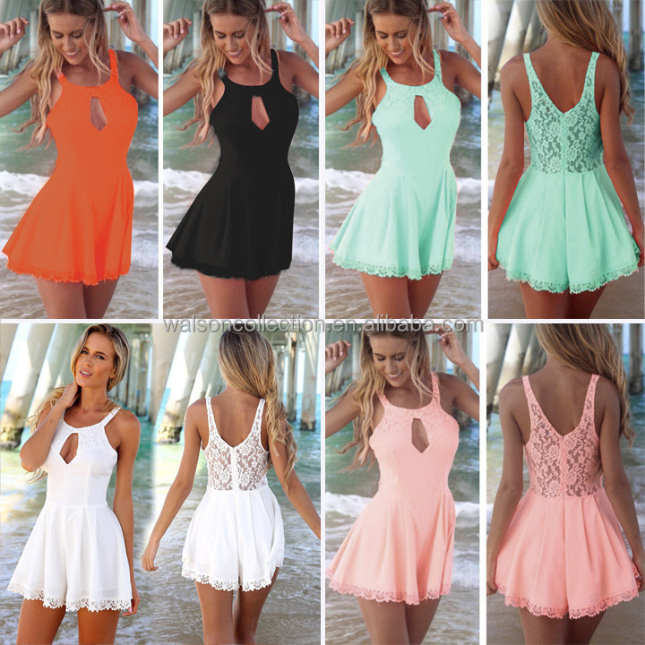 7fdc9ee829c Womens Summer Casual White bowknot-shoulder Short Mini Dress Beach Wear  cocktail party lovely sweet