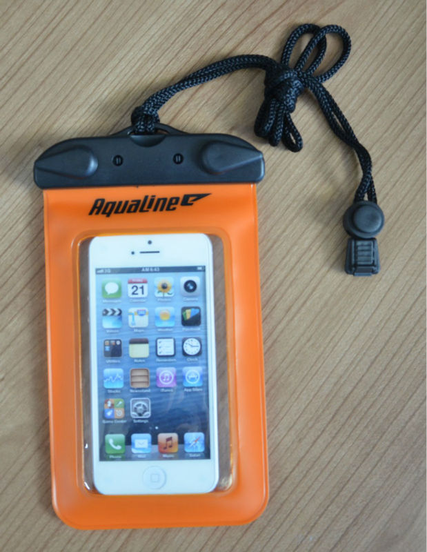 waterproof diving bag with black lanyard for cellphone