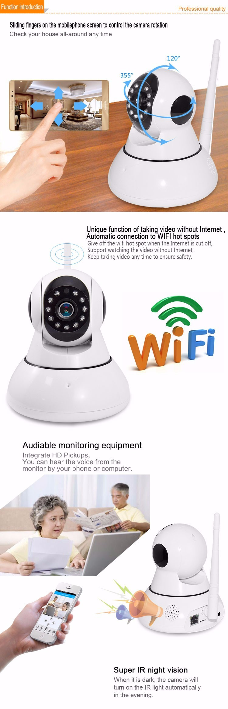 Infrared Technology 720P HD Network Wireless Wifi Smart Net Camera V380