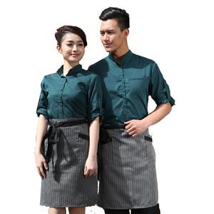 Hotel Work Clothing Sets Women&Men Fast Food Restaurant Waiter Uniforms Top+Apron 2pcs Western Hotel Workwear