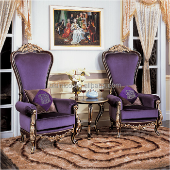 French Romantic Purple Fabric High Back Chair