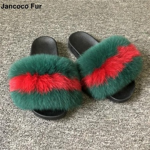 Nice Price 100% Fox Fur Slippers For Women Fluffy Comfy Indoor Fur Slides