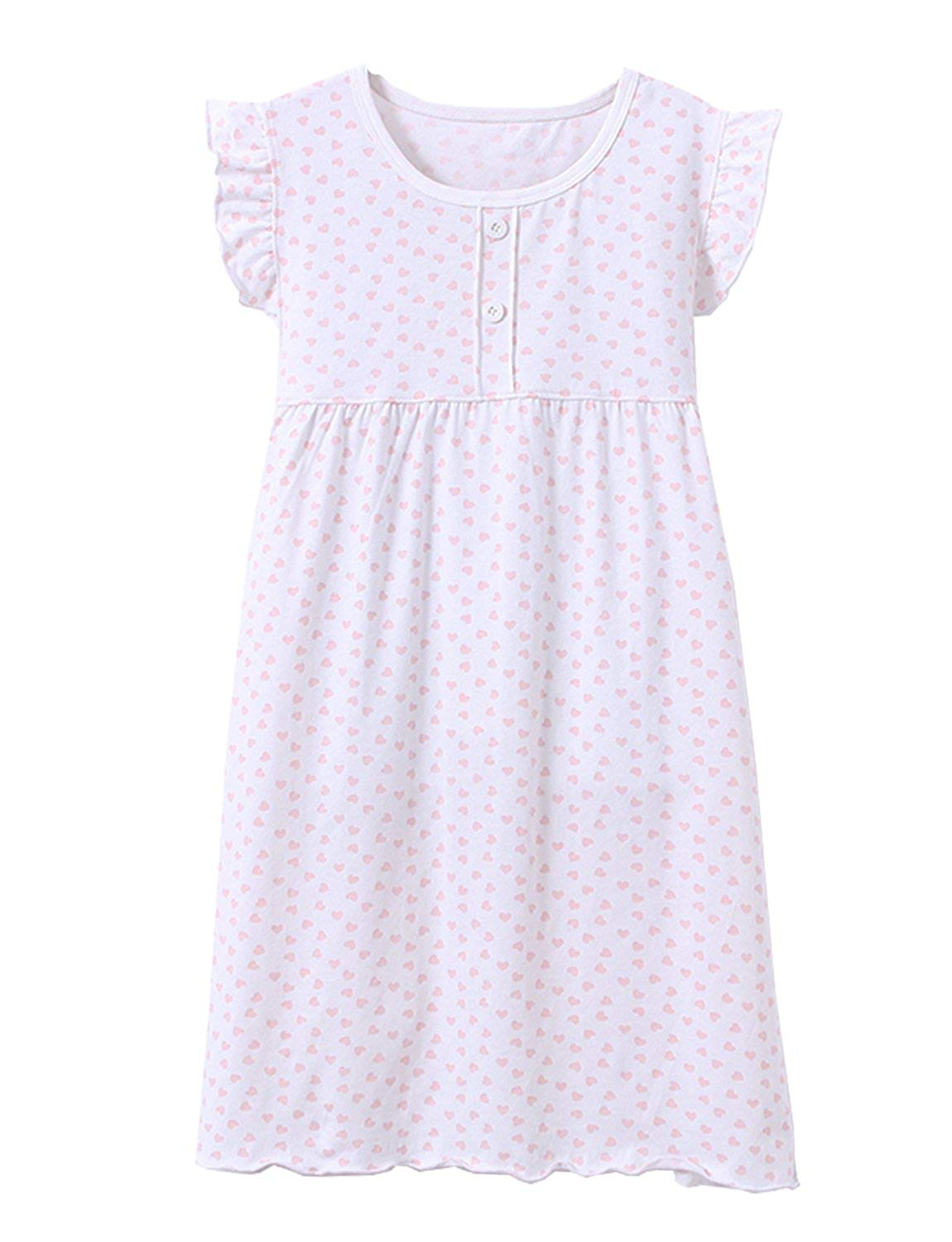 KINYBABY Little Girls Cute Cotton Nightgown Lace Bowknot Nightdress Sleepwear Pajamas