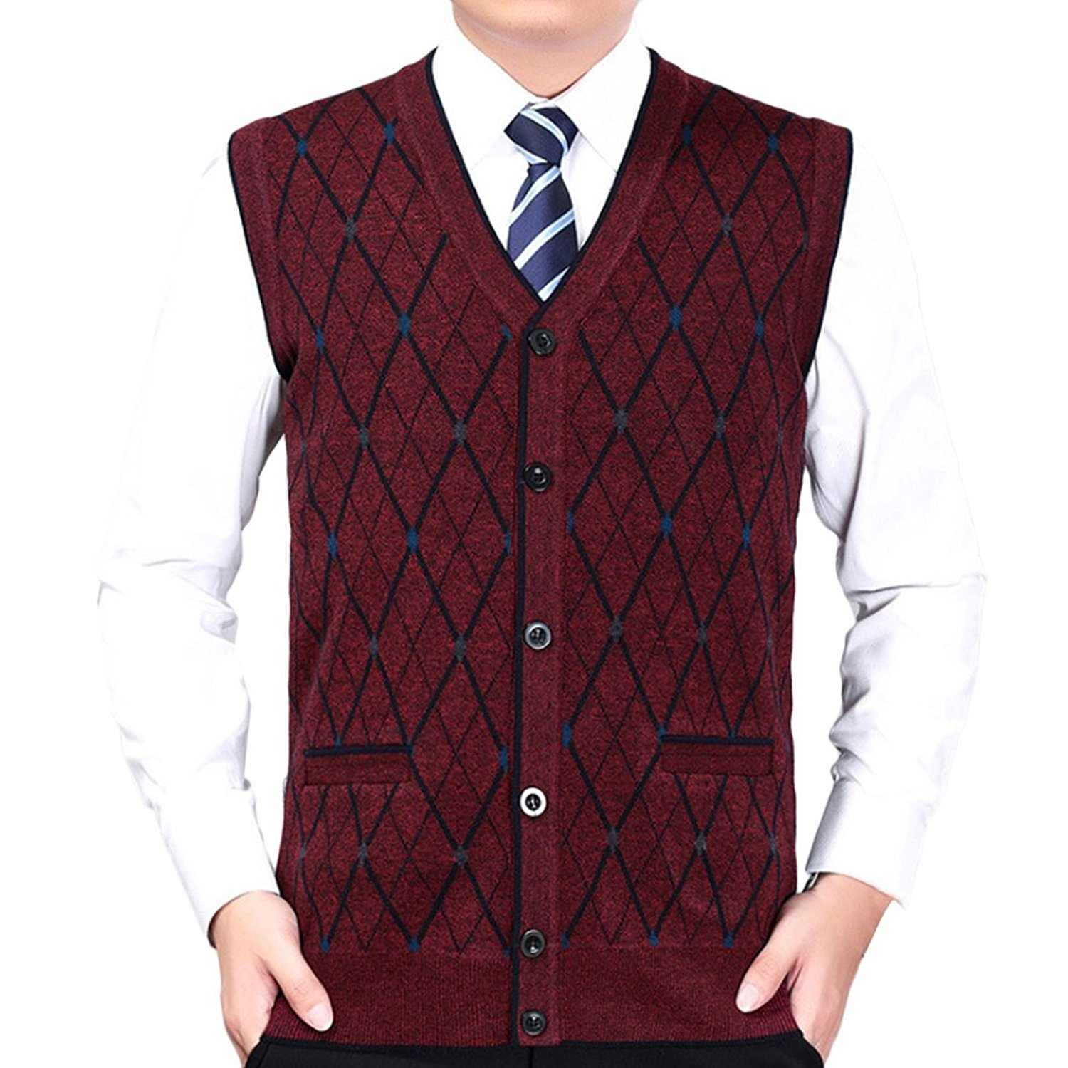 e59b365489f0d Get Quotations · Zhuhaitf Mens Button Down Rhombus Pattern Pullover Knitted  Vest Gilet Knitwear