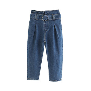 or20491a hot selling wholesale lace up solid cotton children trousers fashion girl's jeans