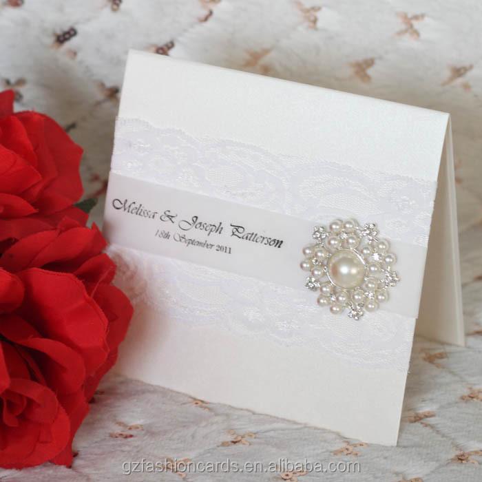 2014 White Elegant Wedding Cards Invitations With Rhinestone ...
