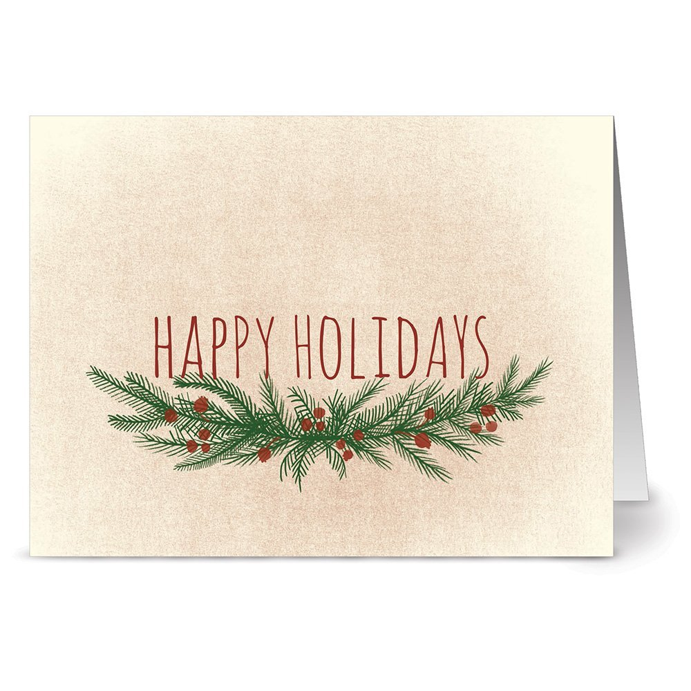 24 Holiday Note Cards - Happy Holidays Holly - Blank Cards - Kraft Envelopes Included