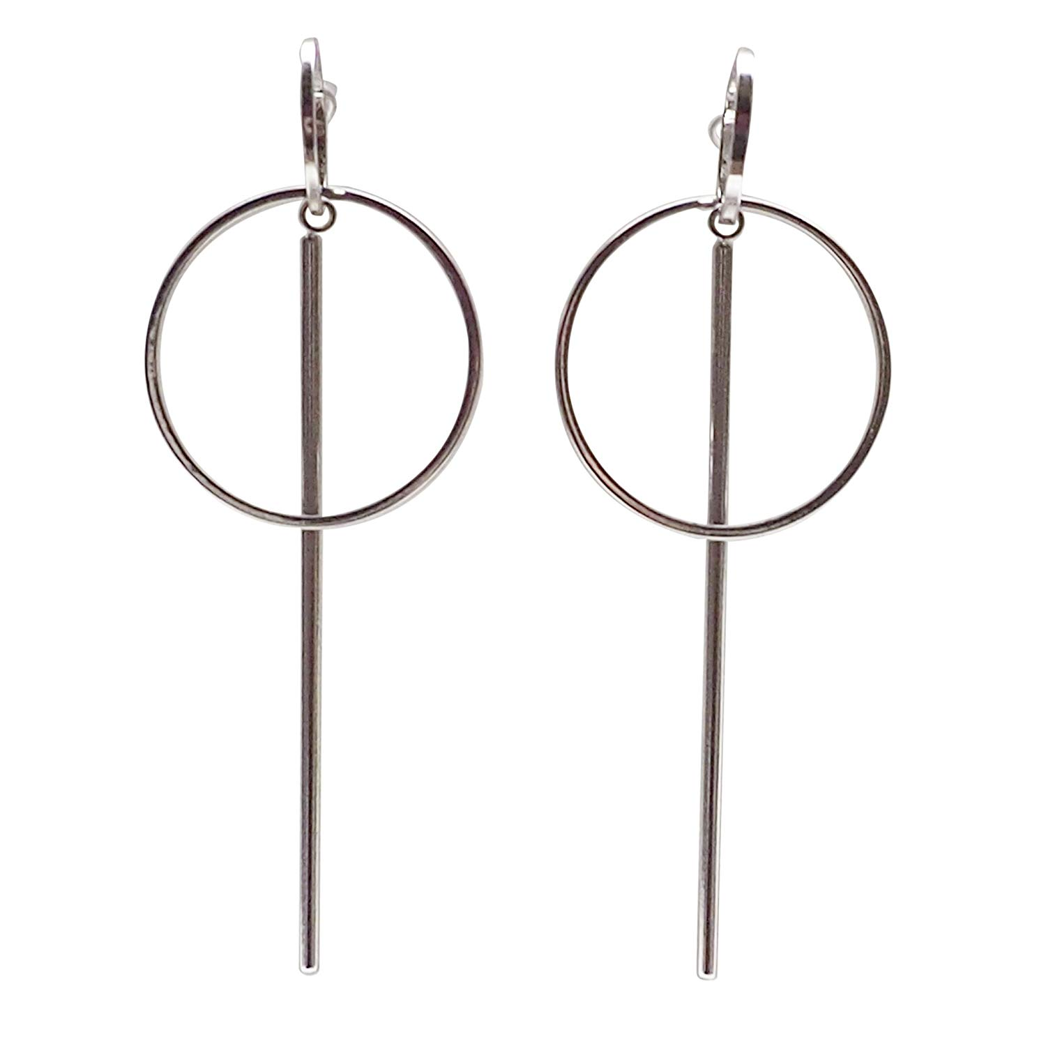 Get Quotations Geometric Silver Tone Long Bar Minimal Circle Hoop Invisible Clip On Stud Earrings Non Pierced