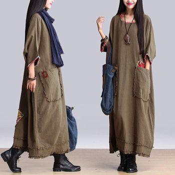 68f674255d 2017 Autumn Winter New Women islamic Vintage Long-sleeved O-neck dubai  Cotton Linen