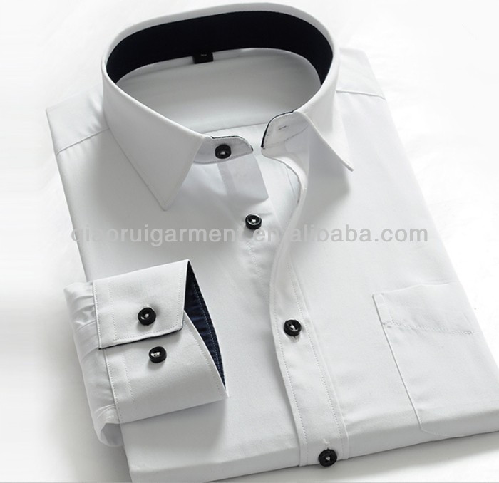 Contrast Color Collar And Cuff Dress Shirts, Contrast Color Collar ...
