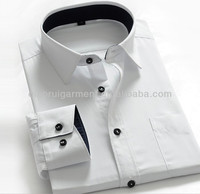 wholesale clothing garment mens white shirt latest 100%cotton men's shirt QR-2407
