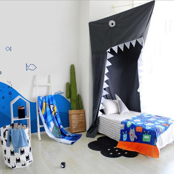 Kids Boys Shark Cartoon Bed Canopy Tent Baby Cribs Mosquito Net Curtains
