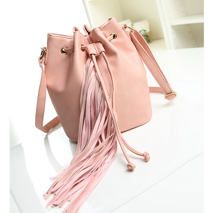 Long Tassel Bucket Bags Women Fringe Bag Drawstring Designer Female Shoulder Bags pu Leather Handbags Pink Tassel Cross Body Bag