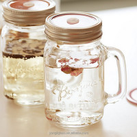 New products 2015 drinking glass mason jar with handle straw and tin lid, mason jar with handle and hinged lids