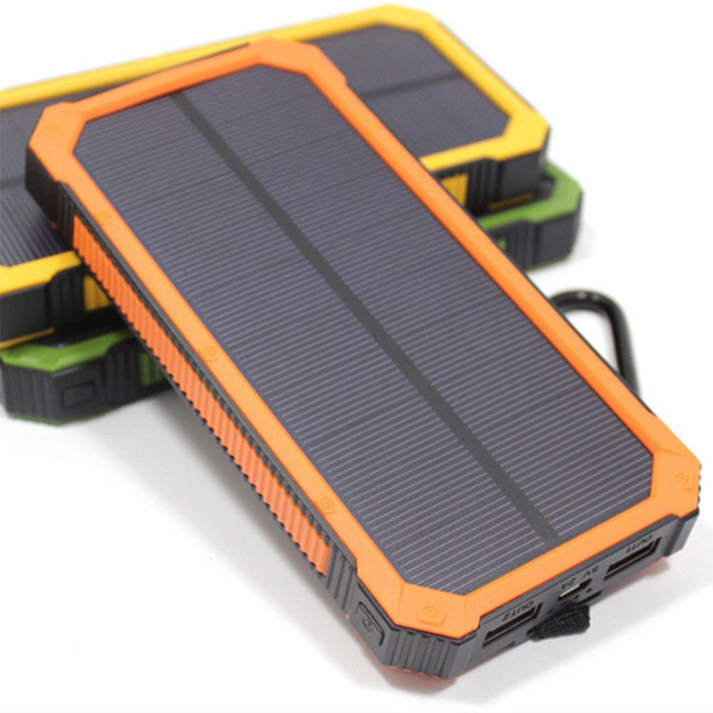 100000mAh Portable Waterproof Solar Charger Dual External Battery Power Bank (orange)