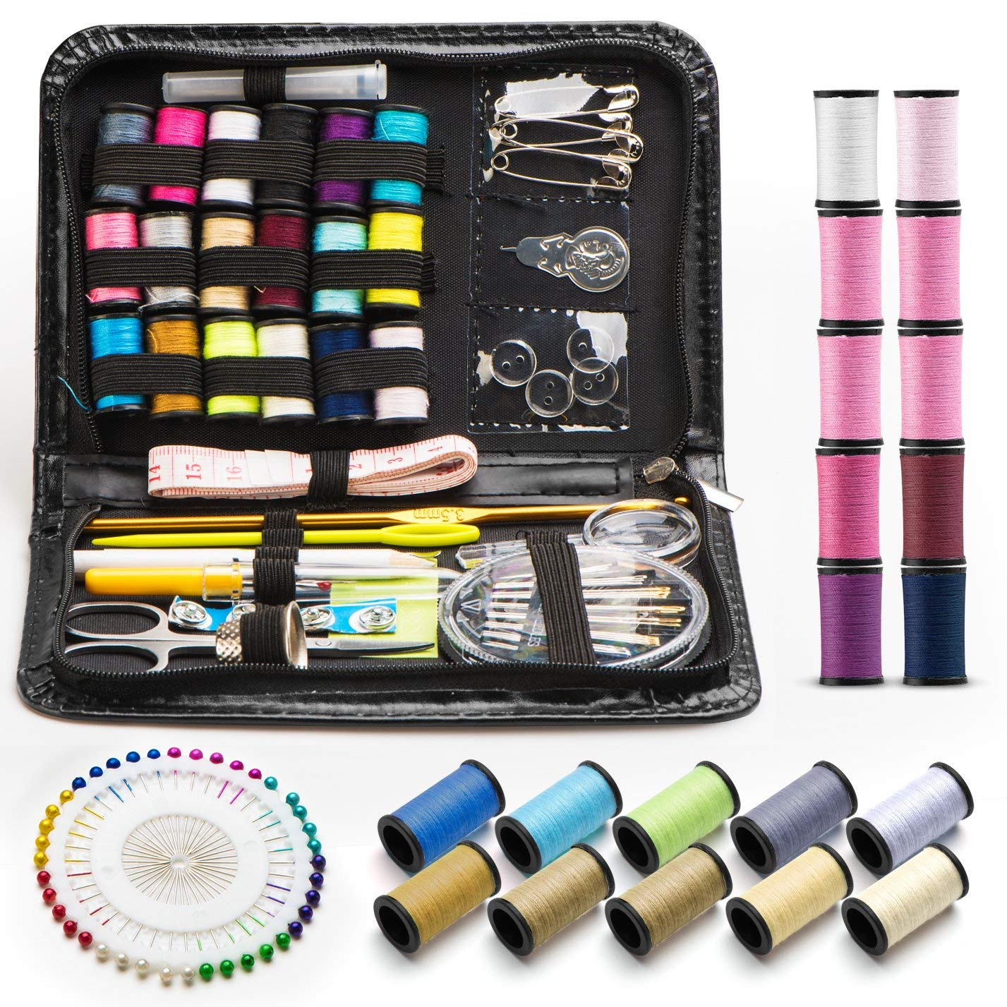 Sewing kit - 134 Pcs Portable DIY to Mending and Repair Sewing Supplies - Mini Sew Kits for Traveler, Adults, Beginner Thread & Needles Supplies & Accessories