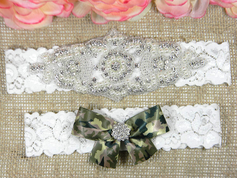 Wedding Garter Set, Camo Bridal Garter Belt, Pearl and Crystal Rhinestone Keepsake and Toss Garter Set, Lace Garters, MORE COLORS