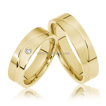 Full Gold Plated Couple Wedding Rings New Model Wedding Ring For