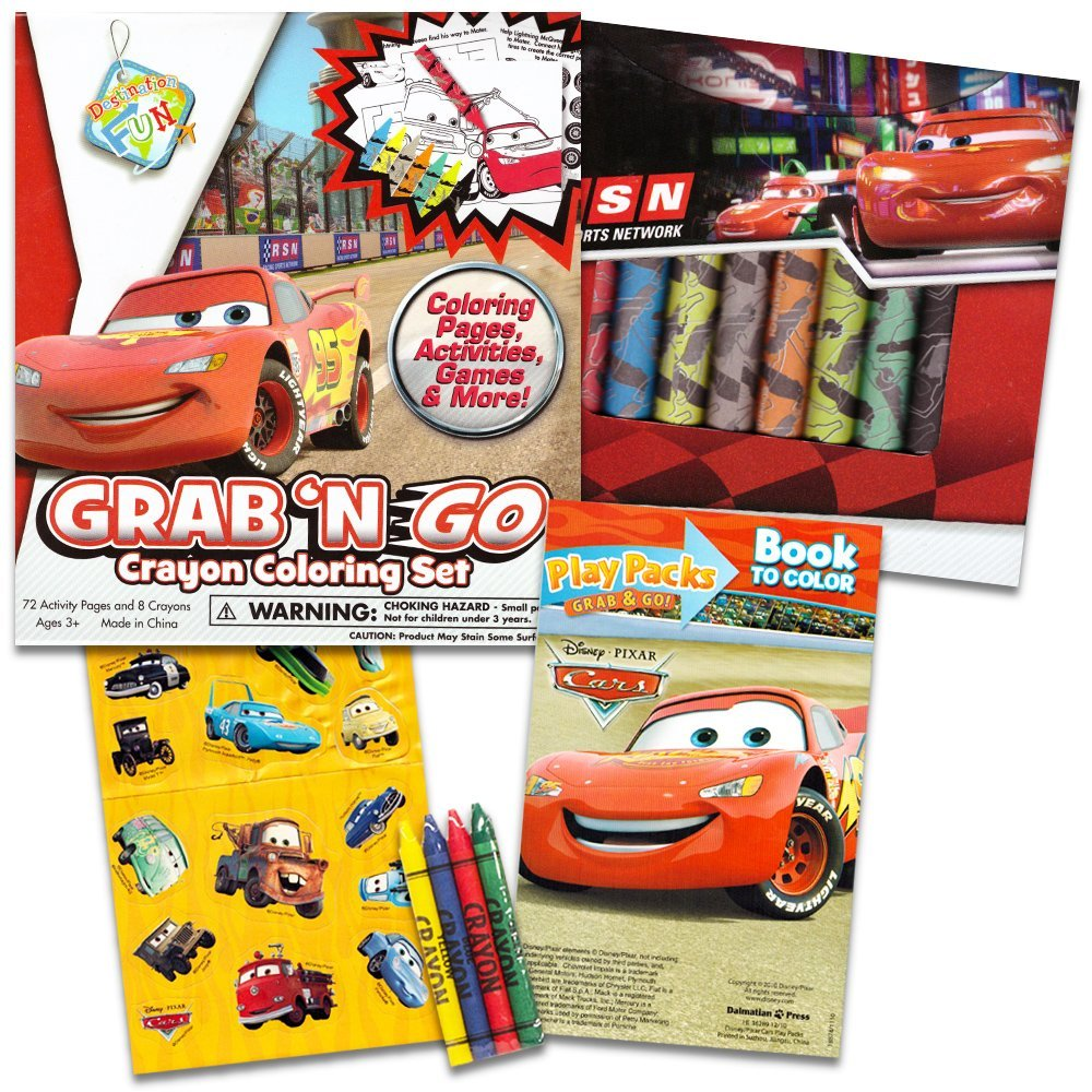 """Disney/Pixar CARS Coloring Book with Stickers """"The Fast Lane"""" (96 Pages)"""
