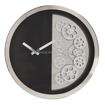 Retro Round Shape Large Decorative Gear Wall Clocks With Mental For