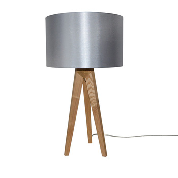 Modern Indoor Decorative Fabric Shade Natural Solid Wood Tripod Table Lamp Product On