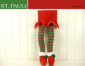 holiday home decoration striped pattern pair stuffed plush legs christmas elves on sale