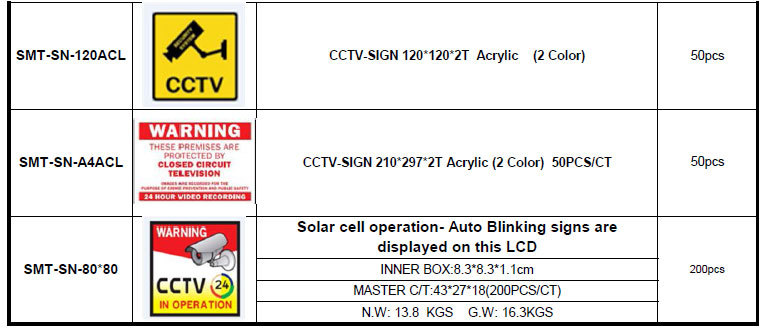 Cctv-sign 210*297*2t Acrylic Cctv Warning Sign (smt-sn-a4acl ...