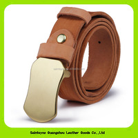 Famous Brand Top Grain Genuine Cowhide Leather Men's Waist Belts with Plate Buckle 16259