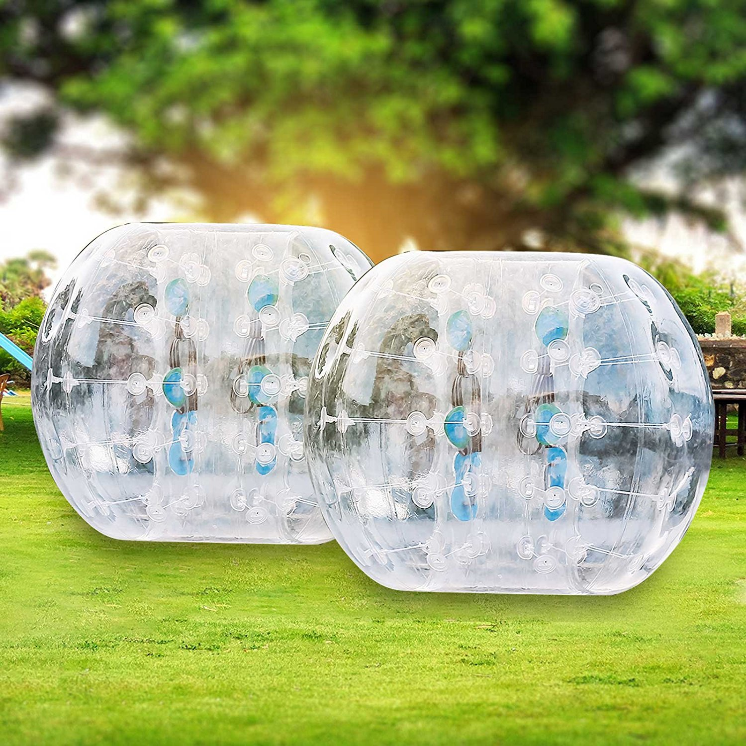 OrangeA Inflatable Bumper Ball Diameter 1.2M 1.5M Bubble Soccer Ball 0.8mm PVC Transparent Material Zorb Ball for Adults and Kids
