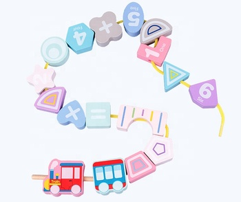 DIY colorful Digital Train Threading wooden block Children's puzzle handmade beading Education Toys