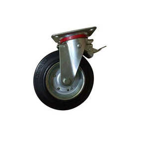W16 Black industrial 8 inch rubber caster with ball bearing